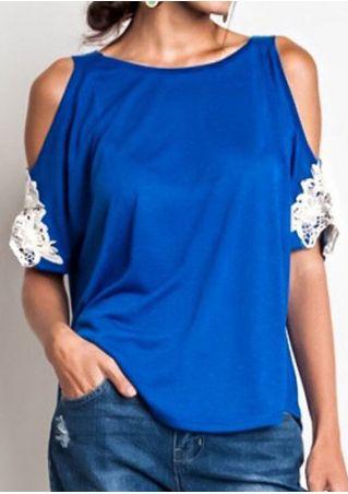 Lace Floral Applique Cold Shoulder Blouse
