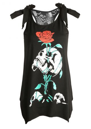 Floral Skull Lace Splicing Kont Asymmetric Tank
