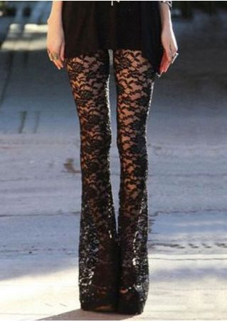 Solid Lace Floral See-Through Flare Pants