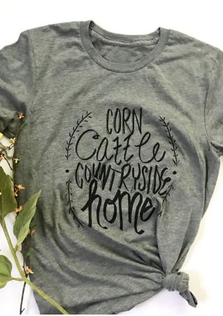 Corn Cattle Countryside Home T-Shirt