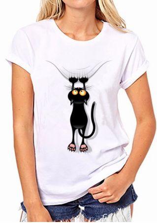 Cat Printed O-Neck Short Sleeve T-Shirt