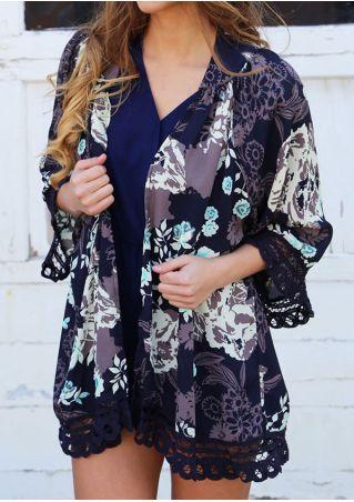 Floral Lace Splicing Kimono Cardigan