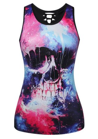 Skull Printed Hollow Out Tank