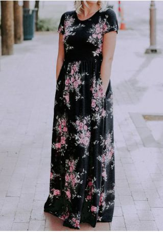 Floral Pocket O-Neck Short Sleeve Maxi Dress