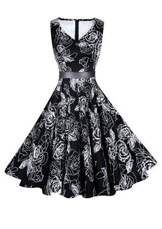 Floral V-Neck Sleeveless Casual Dress