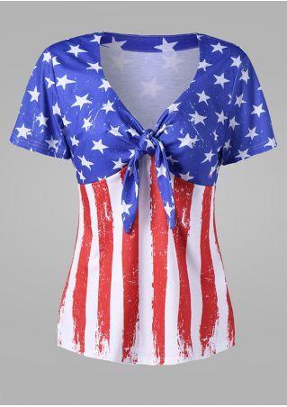 American Flag Printed Knot V-Neck T-Shirt American
