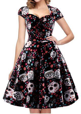 Floral Skull Printed Casual Dress