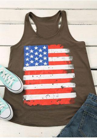 American Flag Printed O-Neck Tank American