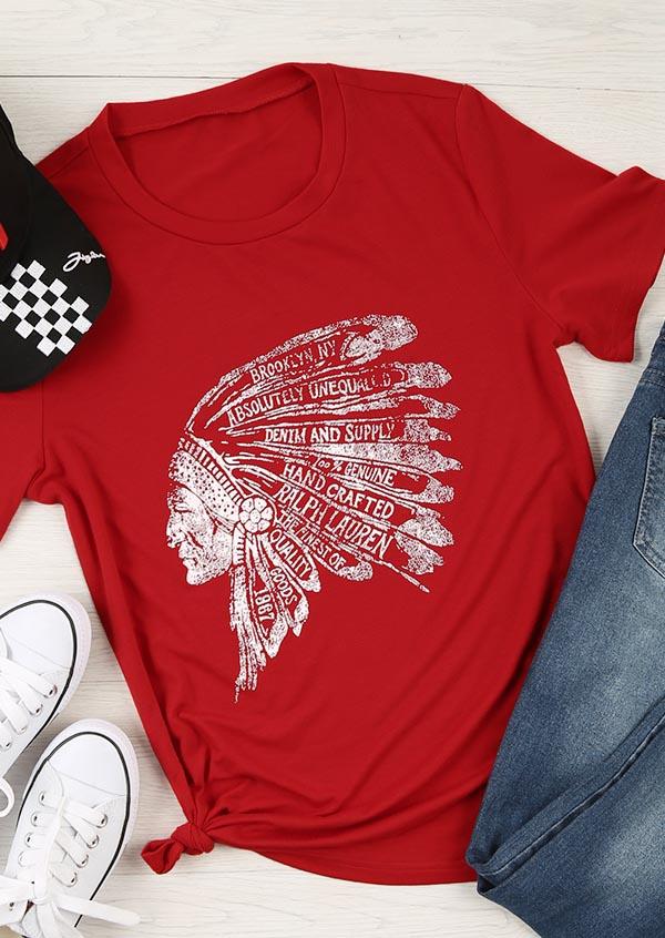 Indian Printed O Neck Short Sleeve T Shirt Fairyseason