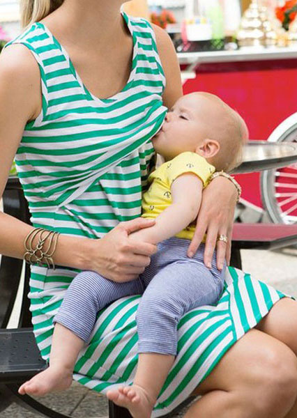 Striped Lactation Sleeveless Mini Dress