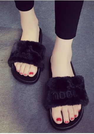 Solid Mool Fluffy Flat Slippers