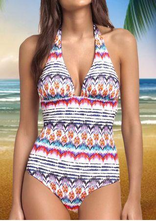 Printed Deep V-Neck Backless Halter Swimsuit