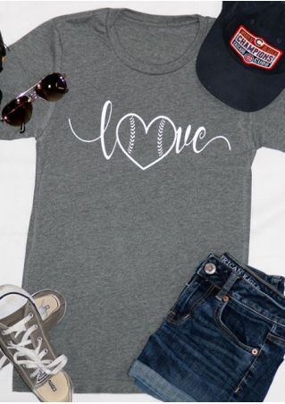 Love Heart Printed O-Neck T-Shirt