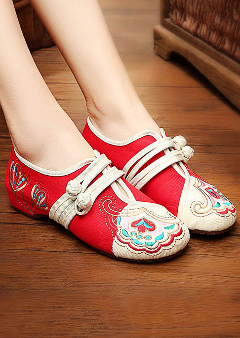 Image of Embroidery Button Canvas Flats