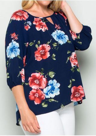 Floral Hollow Out O-Neck Blouse