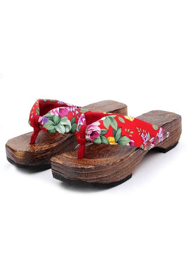 Floral Wooden Sole Flip Flops Fairyseason