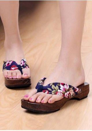 Floral Wooden Sole Flip Flops