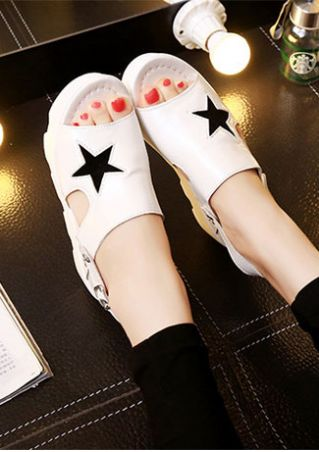 Star Buckle Strap Wedge Sandals