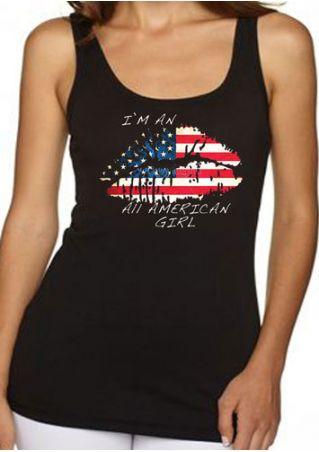 All American Girl American Flag Printed Lip Tank All