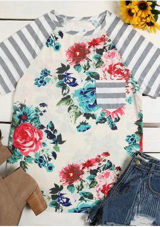 Floral Striped Splicing Pocket Baseball T-Shirt