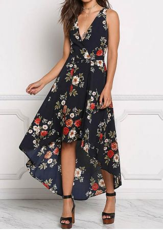 Floral Deep V-Neck Maxi Dress without Necklace