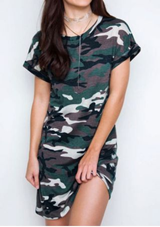 Camouflage Printed Short Sleeve Mini Dress without Necklace Camouflage