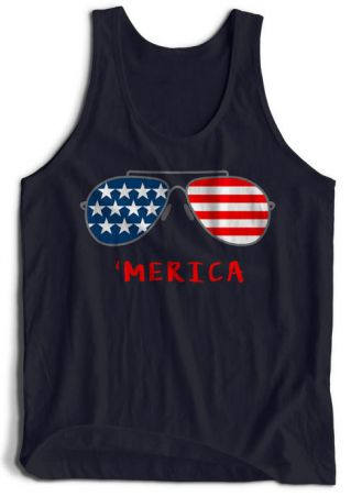'Merica American Flag  Glasses Tank