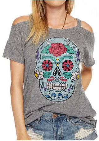 Floral Skull Printed Cold Shoulder Blouse without Necklace