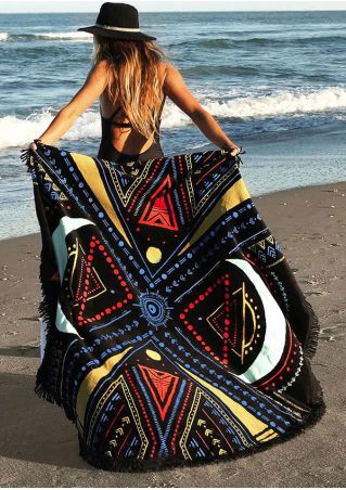 Multicolor Geometric Tassel Round Beach Blanket