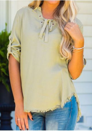Solid Lace Up Asymmetric Tab-Sleeve Blouse