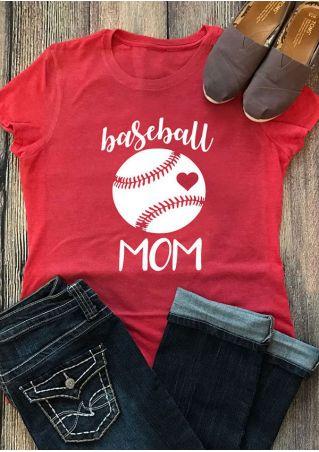 Baseball Mom O-Neck Short Sleeve T-Shirt