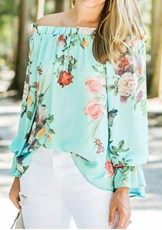 Floral Off Shoulder Long Sleeve Blouse