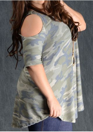 Camouflage Printed Cold Shoulder Blouse without Necklace Camouflage