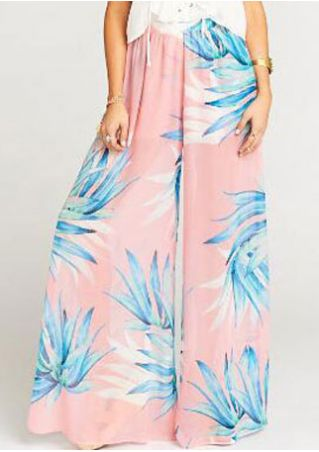 Leaf Printed Elastic Waist Wide Leg Pants