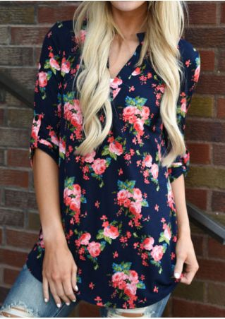 Floral V-Neck Blouse without Necklace