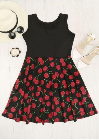 Cherry Printed Splicing Mini Dress