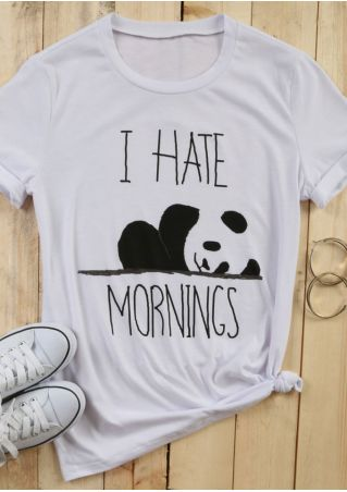 I Hate Mornings Panda Printed T-Shirt
