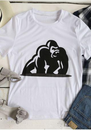 Champanzee Printed O-Neck Short Sleeve T-Shirt