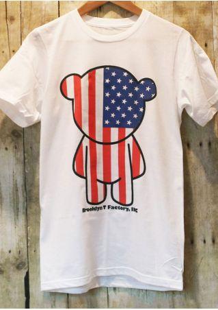American Flag Bear O-Neck T-Shirt