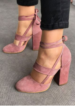 Summer Solid Ankle Wrap Heels