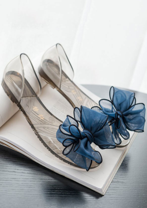 Image of Bow Knot Peep Toe Flat Sandals