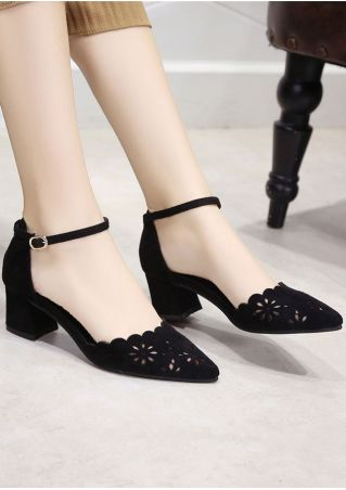Solid Hollow Out Buckle Strap Heels