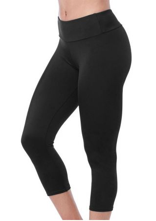 Solid Elastic Waist Leggings