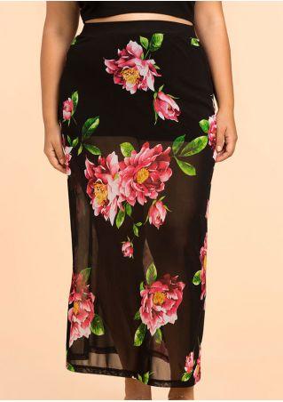 Floral See-Through Elastic Waist Maxi Skirt