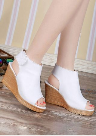 Solid Peep Toe Velcro Wedge Sandals