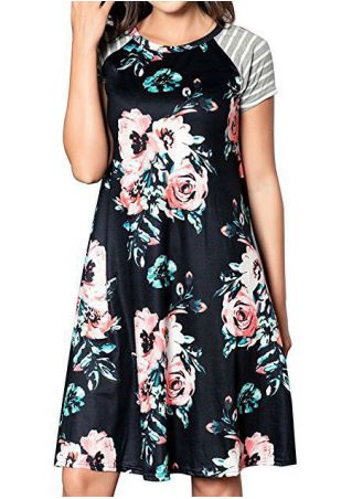 Floral Striped Splicing Casual Dress