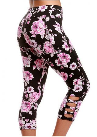 Floral Criss-Cross Sport Leggings