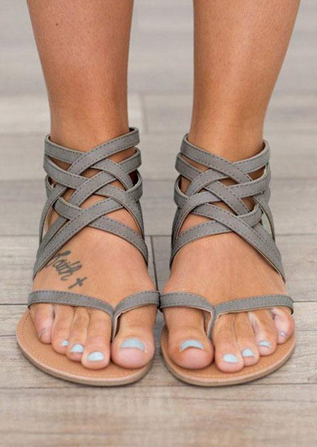 Sandals Summer Cross-Tied Zipper Flat Sandals in Black,Gray. Size: 37,38,39,40,41,42,43
