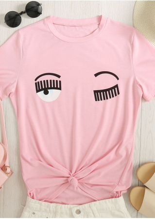 Eyes Printed O-Neck Short Sleeve T-Shirt