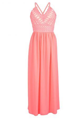 Splicing Back Lace Up Maxi Dress